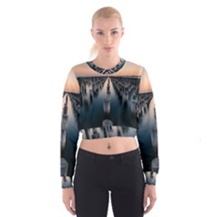 Logs Nature Pattern Pillars Shadow Women s Cropped Sweatshirt