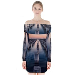 Logs Nature Pattern Pillars Shadow Long Sleeve Off Shoulder Dress