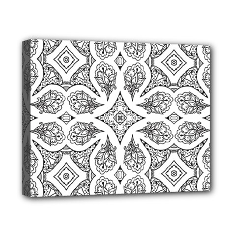 Mandala Line Art Black And White Canvas 10  X 8