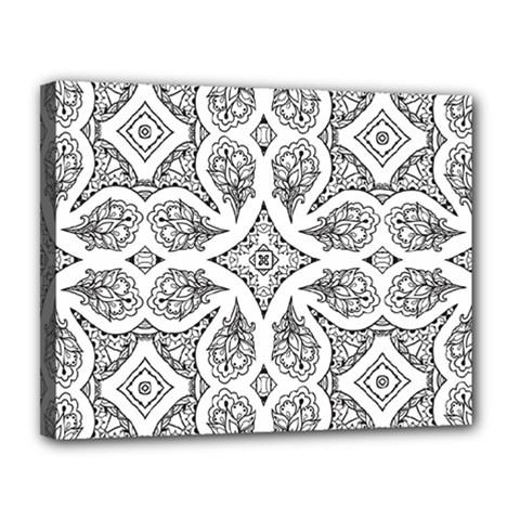 Mandala Line Art Black And White Canvas 14  X 11