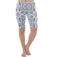 Mandala Line Art Black And White Cropped Leggings