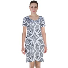 Mandala Line Art Black And White Short Sleeve Nightdress