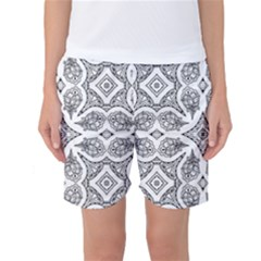 Mandala Line Art Black And White Women s Basketball Shorts