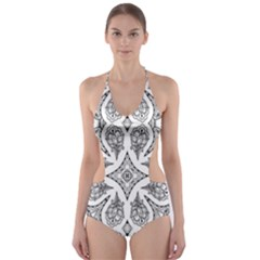 Mandala Line Art Black And White Cut Out One Piece Swimsuit