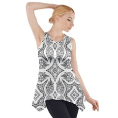 Mandala Line Art Black And White Side Drop Tank Tunic