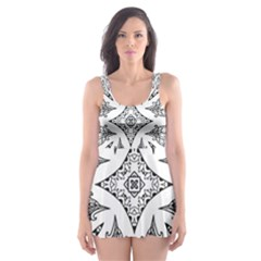 Mandala Line Art Black And White Skater Dress Swimsuit