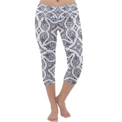 Mandala Line Art Black And White Capri Yoga Leggings