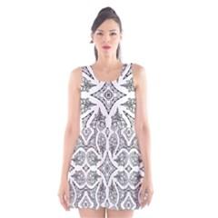 Mandala Line Art Black And White Scoop Neck Skater Dress