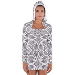 Mandala Line Art Black And White Women s Long Sleeve Hooded T-shirt