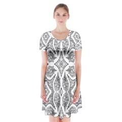 Mandala Line Art Black And White Short Sleeve V Neck Flare Dress