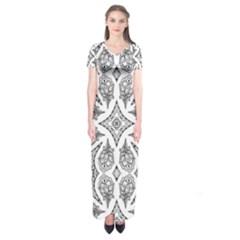 Mandala Line Art Black And White Short Sleeve Maxi Dress
