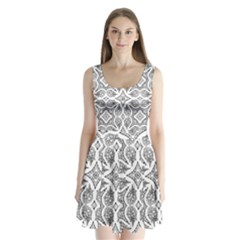 Mandala Line Art Black And White Split Back Mini Dress