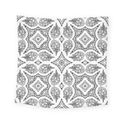 Mandala Line Art Black And White Square Tapestry (small)