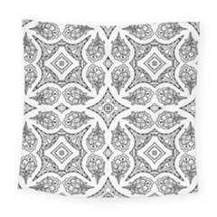 Mandala Line Art Black And White Square Tapestry (large)
