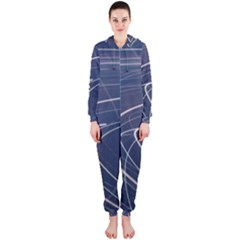 Light Movement Pattern Abstract Hooded Jumpsuit (ladies)