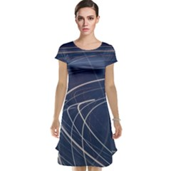 Light Movement Pattern Abstract Cap Sleeve Nightdress