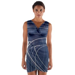 Light Movement Pattern Abstract Wrap Front Bodycon Dress