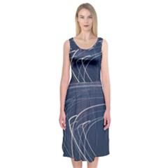 Light Movement Pattern Abstract Midi Sleeveless Dress