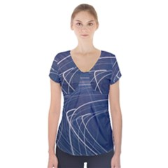 Light Movement Pattern Abstract Short Sleeve Front Detail Top