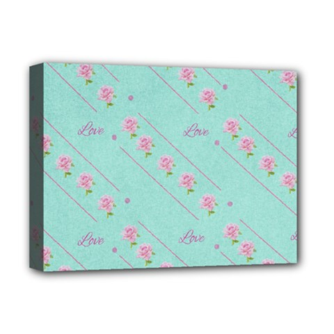 Love Flower Blue Background Texture Deluxe Canvas 16  X 12
