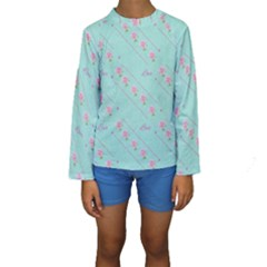 Love Flower Blue Background Texture Kids  Long Sleeve Swimwear
