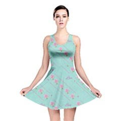 Love Flower Blue Background Texture Reversible Skater Dress