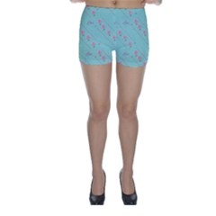 Love Flower Blue Background Texture Skinny Shorts
