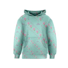Love Flower Blue Background Texture Kids  Pullover Hoodie