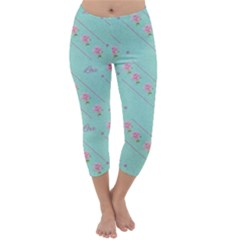 Love Flower Blue Background Texture Capri Winter Leggings