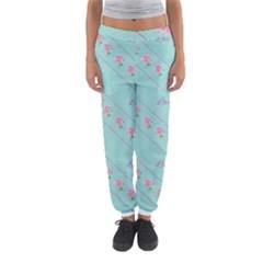 Love Flower Blue Background Texture Women s Jogger Sweatpants