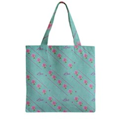 Love Flower Blue Background Texture Zipper Grocery Tote Bag
