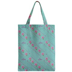 Love Flower Blue Background Texture Zipper Classic Tote Bag