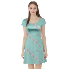 Love Flower Blue Background Texture Short Sleeve Skater Dress