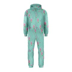 Love Flower Blue Background Texture Hooded Jumpsuit (kids)