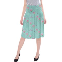 Love Flower Blue Background Texture Midi Beach Skirt