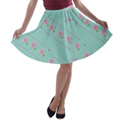 Love Flower Blue Background Texture A Line Skater Skirt