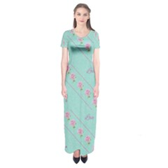 Love Flower Blue Background Texture Short Sleeve Maxi Dress