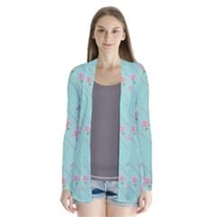 Love Flower Blue Background Texture Cardigans