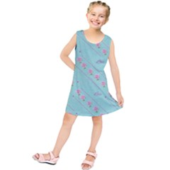 Love Flower Blue Background Texture Kids  Tunic Dress