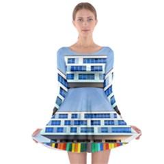Office Building Long Sleeve Skater Dress