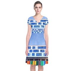 Office Building Short Sleeve Front Wrap Dress
