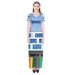 Office Building Short Sleeve Maxi Dress