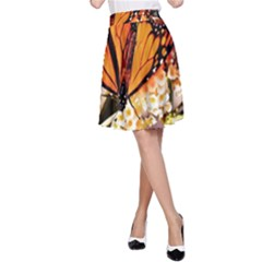 Monarch Butterfly Nature Orange A Line Skirt
