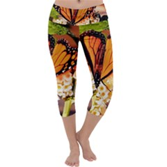 Monarch Butterfly Nature Orange Capri Yoga Leggings