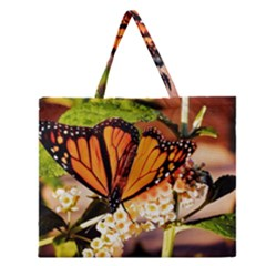 Monarch Butterfly Nature Orange Zipper Large Tote Bag