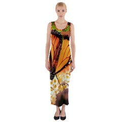 Monarch Butterfly Nature Orange Fitted Maxi Dress