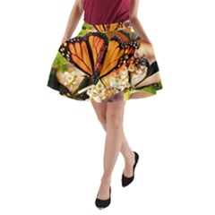 Monarch Butterfly Nature Orange A-Line Pocket Skirt