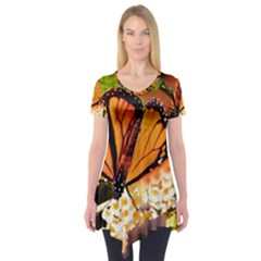 Monarch Butterfly Nature Orange Short Sleeve Tunic