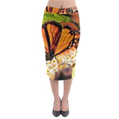 Monarch Butterfly Nature Orange Midi Pencil Skirt