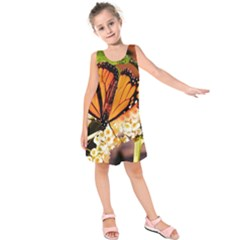 Monarch Butterfly Nature Orange Kids  Sleeveless Dress